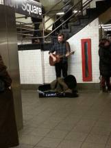 Playing covers at Union Square.